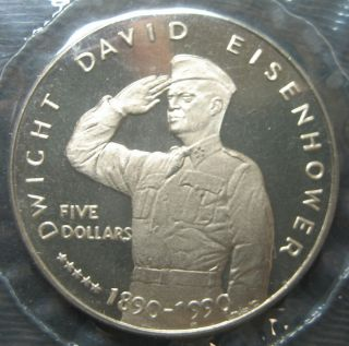 1990 Marshall Islands Dwight D. Eisenhower 5 Dollar Coin