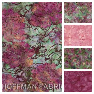 Hoffman Dusty Grape Vine Batiks Fat Quarter Set Quilt Fabric Pink