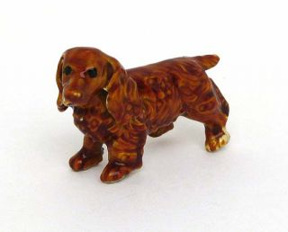 this is a stunning 14k gold and enamel dotson dog pin brooch