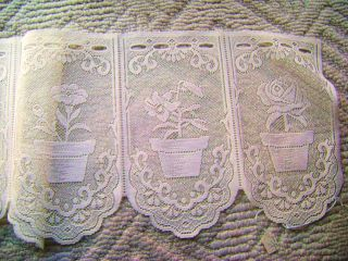 Great Bay Lace Co Flower Pot Ecrue or White Tier Valance Swag Lace