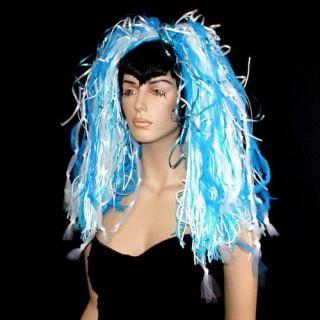 Blue White Knotty Dread Hair Falls UV Cyber Rave Dance