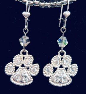 Rhinestone Dog Rescue Paw Earrings Sterling Silver Handmade Pet Dog