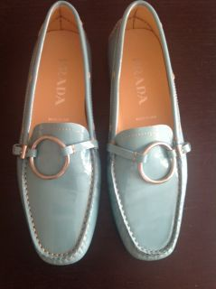 PRADA DOLA TURQUOISE Patent LEATHER Driving Shoes Loafers size 37 New