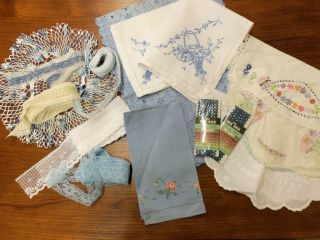 Cutter Lot of Vintage Blue Linens Doily Dresser Scarfs Lace