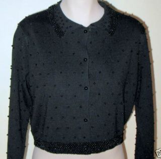 Ann Wi Boutique Wool Blend Beaded Dressy Cardigan Sweater Black M
