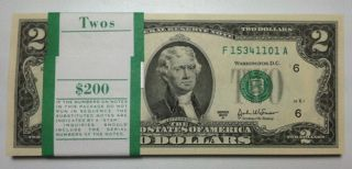 Crisp, Uncirculated 2 Dollar Bill, New, Mint $2 Note, Sequential Order