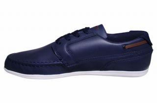 Lacoste Mens Shoes Dreyfus EO Dark Blue Brown Leather 7 24SPM12122L8