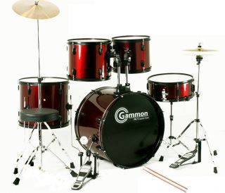 Complete Full Size 5 Piece Drum Set Cymbals DVD Red