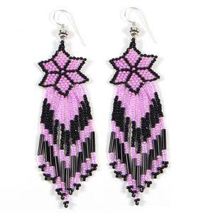 Purple Black Seed Beaded Star Flower Beadwork Earrings Handmade E15 29