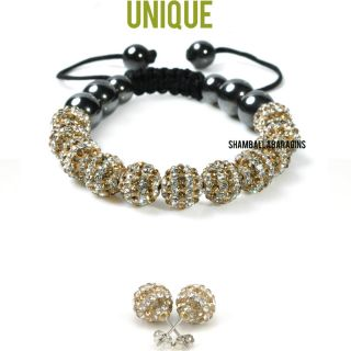 Gold White 11 Stone Stripe Shamballa Bracelet Earrings Set
