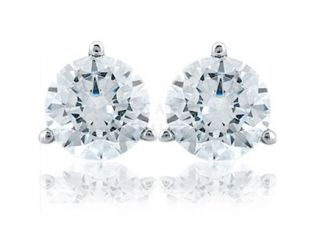 14 CARAT DIAMOND SOLID 14KT White GOLD SOLITAIRE MARTINI STUD EARRINGS