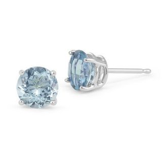 00 CARAT 14K SOLID WHITE GOLD AQUAMARINE ROUND SHAPE STUD EARRINGS