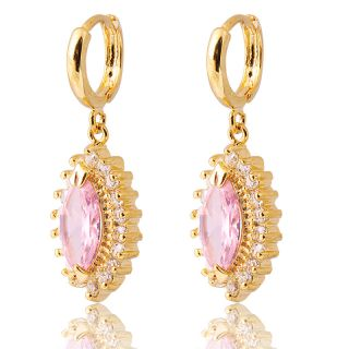 JEWELRY LADY PINK SAPPHIRE YELLOW GOLD GP HOOP DROP EARRINGS EARRING