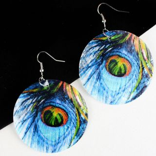 Shimmer Blue Peacock Feather Shell Circle Dangle Hook Earring