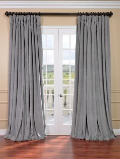 Silver Grey Double Wide Velvet Blackout Pole Pocket Curtains & Drapes