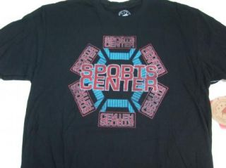 ESPN Sports Center Sportique Vintage Retro Tee Tshirt Mens Black