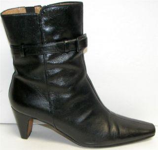 Donald Pliner Black Leather Belt Trim Mid Calf Boots,Lancel, 8.5M