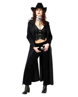 Cowgirl Western Sheriff Black Dress Up Adult Halloween Costume