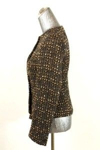 Womens Brown Donna Karan Jacket Blazer Wool Tweed Cropped Crew Neck