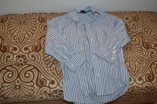 BOYS GAP KIDS LONG SLEEVE BUTTON DOWN DRESS SHIRT BLUE WHITE STRIPE XS