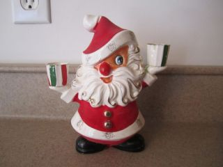 Vtg HOLT HOWARD Christmas Santa Figurine Candle Holder w Label