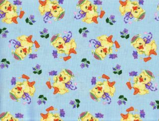 Quilt Quilting Fabric Easter Chick Floral Blue Purple Free Spirit