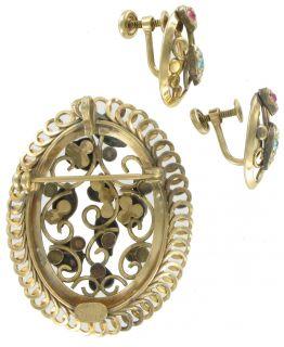 Vintage 12K Gold Filled Rhinestone Pin Brooch Earrings
