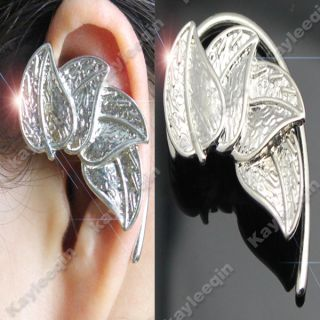 Fab Silver Leaves Ear Cuff Stud Earrings Non Pierced Ear Boho Goth