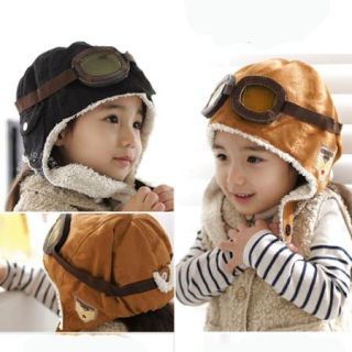 Korean Children Flying Cap Baby Ear Air Force Thick Cap with Glasses