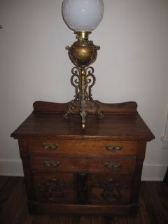 Victorian Tiger Oak Dry Sink Cabinet Nightstand Etc