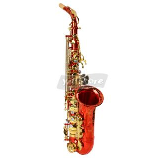 New Alto EB Brass Red Saxophone Sax with Abalone Shell Button More