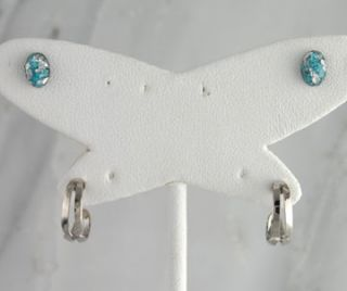 Silver Flake Turquoise Double Stud Hoop Earrings Jewelry