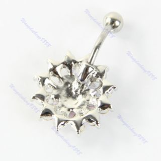 1pcs Double Color Crystal Navel Belly Button Barbell Rhinestone Body
