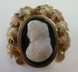 Victorian Brooch Stone Cameo Multi Color Gold Filled