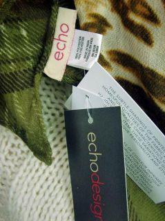 Echo Design Green Plaid Cheetah Animal Print Scarf Wrap 20 x 80