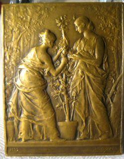 Antique Dupuis Bronze Lady Tree Art Bronze Sculpture Plaque Medal