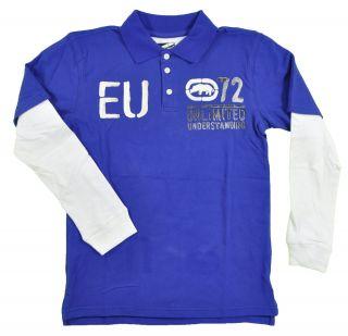 Ecko Unltd Big Boys L s Royal Blue White Polo Size 8 10 12 14 16 18 20