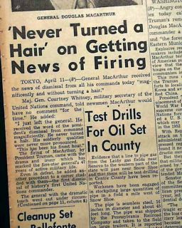 General Douglas MacArthur Fired by President Harry Truman 1951 Old