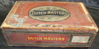 Antique Dutch Masters Wood Cigar Box Claro Special 10 Cent Size