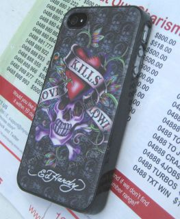Ed Hardy Black Skeleton Leather Hard Case Cover for iPhone 4 4G 4S