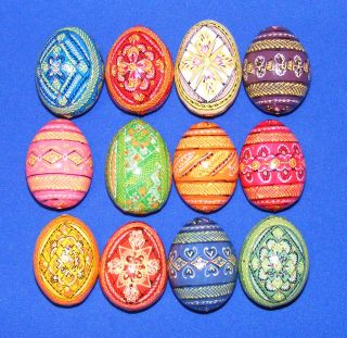 12 Wooden Ukrainian Pysanky Easter Painted Eggs