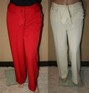 Dudley Woman Plus Size Womens Dress Pants Ivory Red Size 14 16 18 20