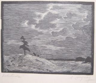 1930 Duguay Listed Canadian Woodblock Print Solitude