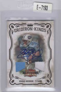 Eddie George 2010 Panini Threads Gridiron Kings Dual Jersey Auto 01 25