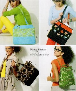 McCalls 6579 Sewing Pattern Nancy Zieman Easy Shoulder Bag Purse Tote