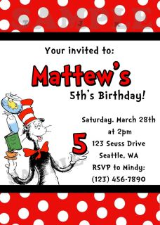 Dr Seuss Birthday Party Invitation You Print
