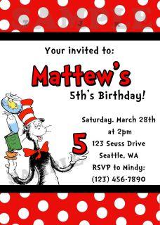 Dr Seuss Birthday Party Invitation You Print
