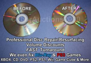 Scratch Removal Cleaning Resurfacing CD DVD Xbox Blu Ray PS