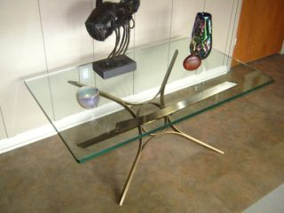 60s Dunbar Roger Sprunger Modern Bronze Glass Sculptural Coffee Table