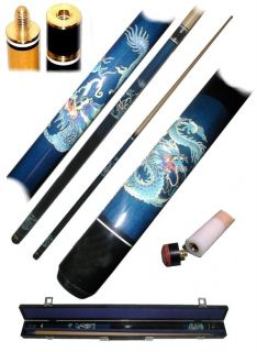 hardwood billiard cue with carrying case blue dragon design high